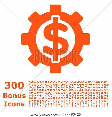 Financial Options icon with 300 bonus icons. Vector illustration style is flat iconic symbols, orange color, white background.