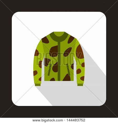 Camouflage hunting jacket icon in flat style with long shadow