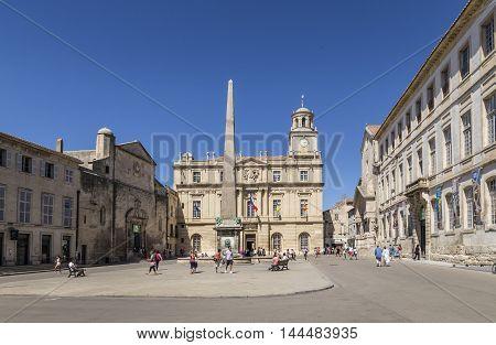 People At Place De La Republique In Arles, France
