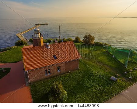 Aerial top view of Vente Cape in Lithuania, one of the firs bird ringing place in Europe