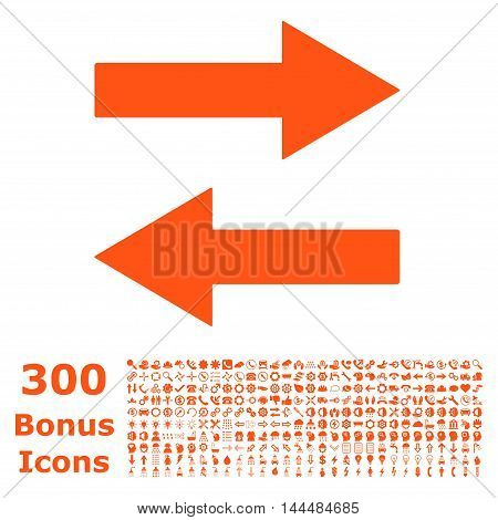 Horizontal Flip Arrows icon with 300 bonus icons. Vector illustration style is flat iconic symbols, orange color, white background.