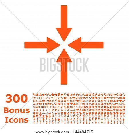 Impact Arrows icon with 300 bonus icons. Vector illustration style is flat iconic symbols, orange color, white background.