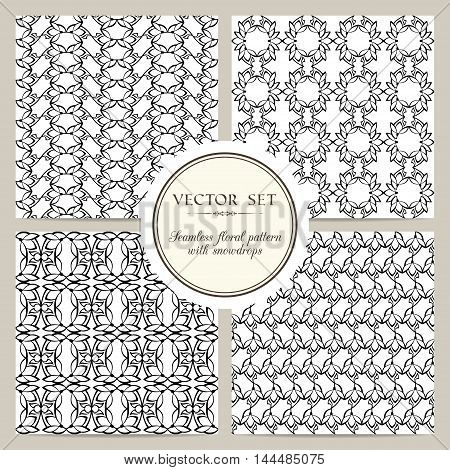 Set of black and white seamless floral pattern with snowdrops. Vector background