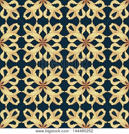 Seamless golden pattern. Ornamental background with pattern