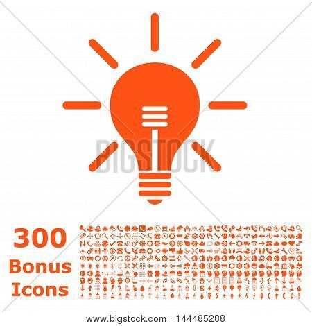 Light Bulb icon with 300 bonus icons. Vector illustration style is flat iconic symbols, orange color, white background.