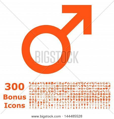 Male Symbol icon with 300 bonus icons. Vector illustration style is flat iconic symbols, orange color, white background.