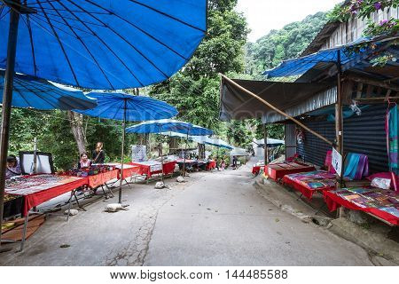 CHIANGMAI, THAILAND - 14 DEC - Outdoor local market with unidentified local merchants, selling souvenir for tourists on mountaineer village in Chiangmai, Thailand on December 17, 2015