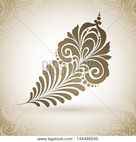 Vector magic exotic feather with ornamental patterns