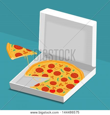 Pizza in Box Vector Illustration eps 8 file format