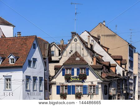 Basel, Switzerland - 27 August, 2016: buildings in the old town. Basel is a city in northwestern Switzerland located where borders of France, Germany and Switzerland meet.