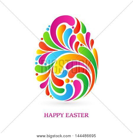 Colorful splash abstract decorative ornate Easter egg isolated on white background. Happy Easter. Vector illustration. Design invitation, banner, greeting card