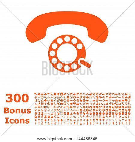 Pulse Dialing icon with 300 bonus icons. Vector illustration style is flat iconic symbols, orange color, white background.