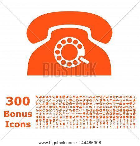 Pulse Phone icon with 300 bonus icons. Vector illustration style is flat iconic symbols, orange color, white background.
