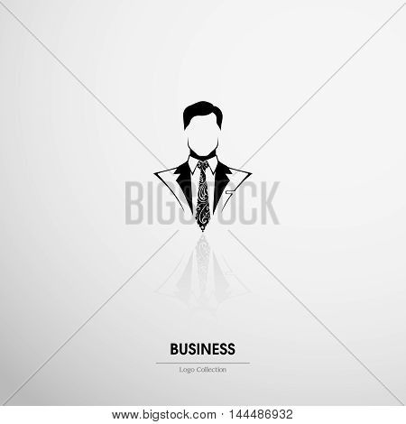 Logo company, club, Recruitment, salon  label. Ornate businessman icon man in suit and tie