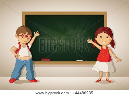 Vector little boy and girl showing blackboard in the classroom. Students are showing empty blackboard.