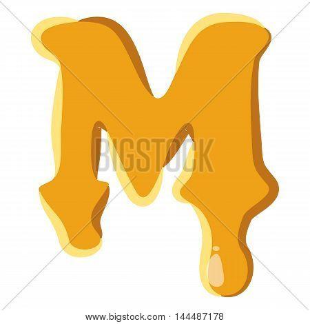 Letter M from honey icon isolated on white background. Alphabet symbol