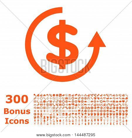 Refund icon with 300 bonus icons. Vector illustration style is flat iconic symbols, orange color, white background.