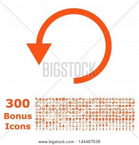 Rotate Ccw icon with 300 bonus icons. Vector illustration style is flat iconic symbols, orange color, white background.