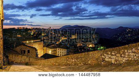 Perugia (Umbria) panorama from Porta Sole at twilight