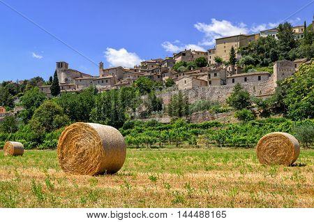 Spello (Umbria Italy) and landscape scenic view