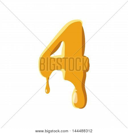 Number 4 from honey icon isolated on white background. Figure symbol