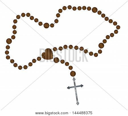 Catholic rosary beads with a silver cross all over a white background
