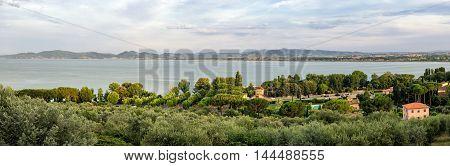 Lago Trasimeno (Umbria) Panorama from Castiglione del Lago