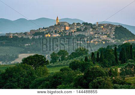 Todi (Umbria Italy) scenic view at twilight