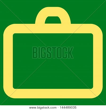 Case vector icon. Style is stroke flat icon symbol, yellow color, green background.
