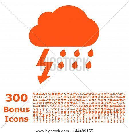 Thunderstorm icon with 300 bonus icons. Vector illustration style is flat iconic symbols, orange color, white background.