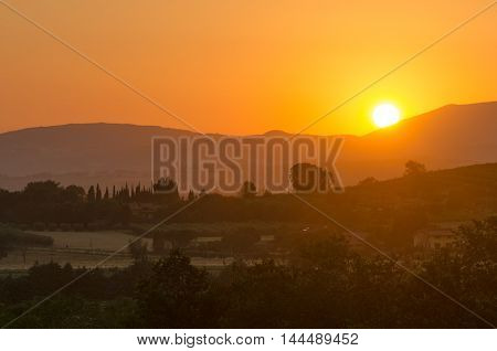 Umbria sunset on the hills near Assisi