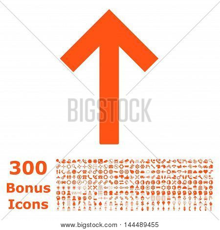 Up Arrow icon with 300 bonus icons. Vector illustration style is flat iconic symbols, orange color, white background.