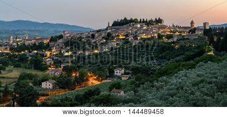 Spello (Umbria Italy) scenic view at sunset