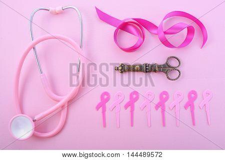 Pink Ribbon Charity Flat Lay.