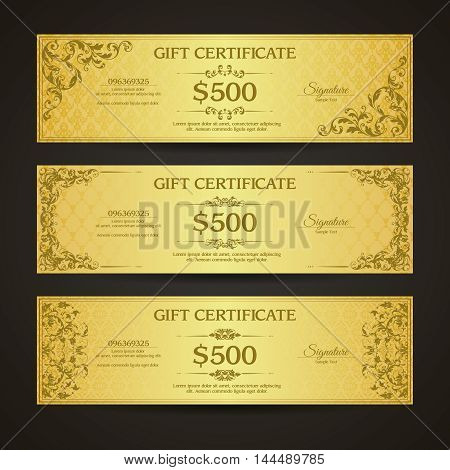 Golden gift certificate banners set  VIP Vintage ornamental template with damask pattern and decorative frame.