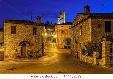 Corciano (Umbria) village and alleys at blue hour