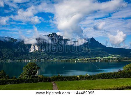 Austria Germany Border Mountain Landscape Cloudy Majestic European