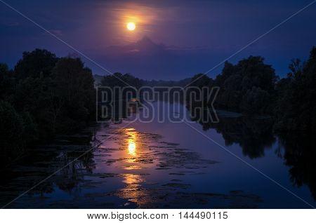 The Monviso and the Moon at Casalgrasso near Turin (Torino)