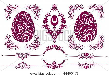 Vector set of Easter decorative ornamental page decoration calligraphic design elements for invitation, banner, congratulation and greeting card