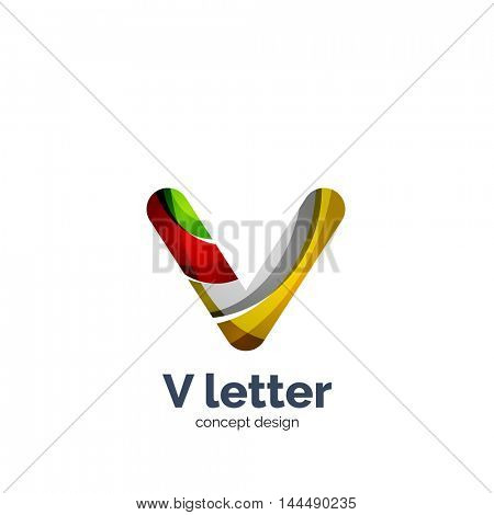 Vector V letter logo, modern abstract geometric elegant design, shiny light effect. Created with flowing waves