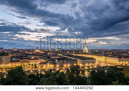Torino panorama at twilight scenic view and landscape