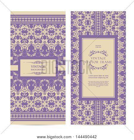 Vector set of vintage ornamental frame elegant lace templates banners design