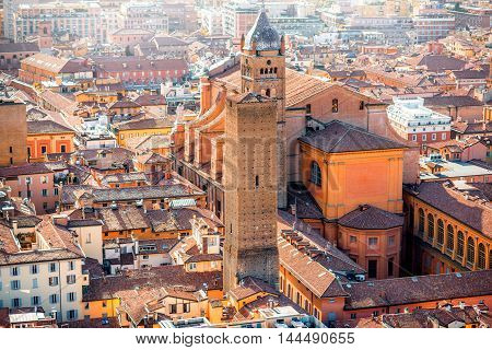 Aerial cityscape view from the tower on Bologna old town with Metropolitan cathedral San Pietro in Italy
