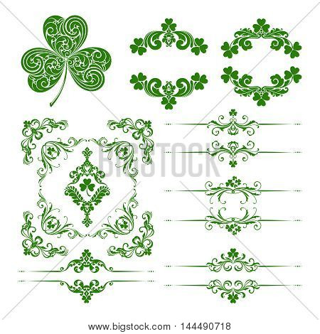 Vector set of st. Patrick's Day decorative ornamental page decoration calligraphic design elements for invitation, banner, congratulation and greeting card