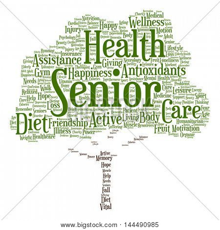 Vector concept conceptual old senior health, care or elderly people abstract tree word cloud isolated on background