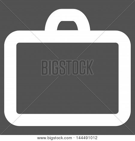 Case vector icon. Style is stroke flat icon symbol, white color, gray background.