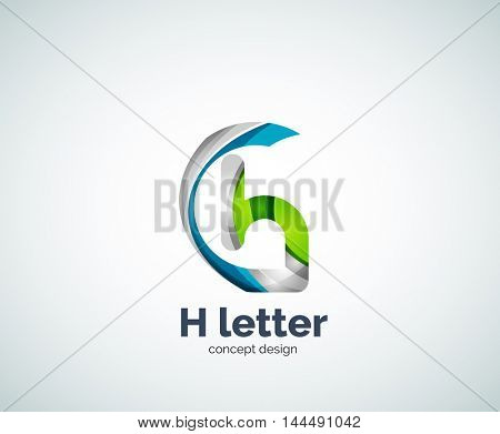 Abstract H geometric letter logo template. Overlapping transparent wave elements composition
