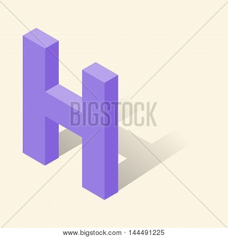 H letter in isometric 3d style with shadow. Violet H letter vector illustration