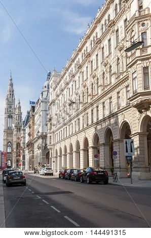 Vienna / Austria - July 20th 2014: lateral street view of Vienna City Hall towers during 2014-th film festival