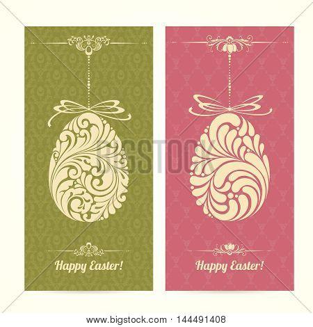 Vector set of vintage ornamental Easter templates banners. Happy Easter ornate retro design